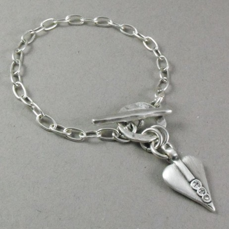 Danon Swarovski Crystal Silver Signature Heart Bracelet