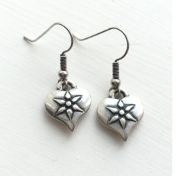 Danon Silver Heart Drop Earrings with flower