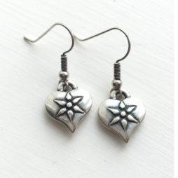Danon Silver Heart Drop Earrings with Flower