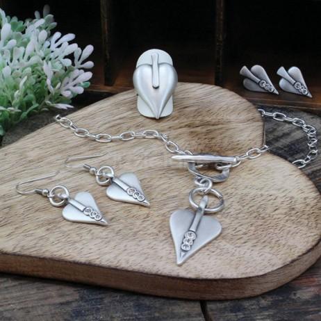 Danon Swarovski Crystal Silver Signature Heart Necklace