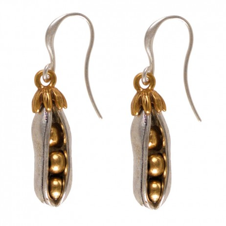 Hultquist Jewellery Pea Pod Bi Colour Drop Earrings