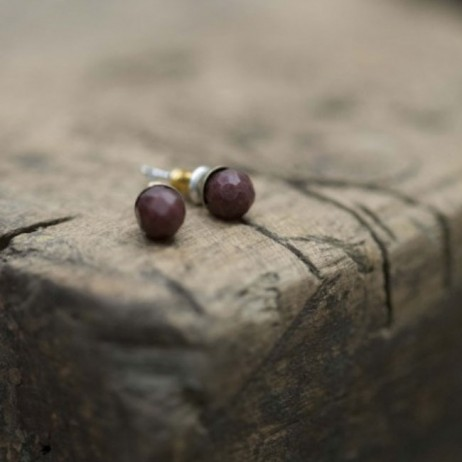Tutti and Co Jewellery Burgundy Faceted Stone Stud Earrings