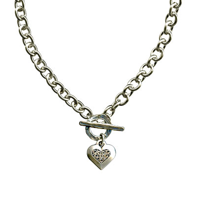 Danon Jewellery Chunky Silver Crystal Heart Necklace