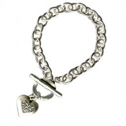 Danon Jewellery Silver Chunky Swarovski Crystal Heart Bracelet