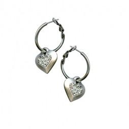 Danon Jewellery Silver Chunky Crystal Heart Hoops