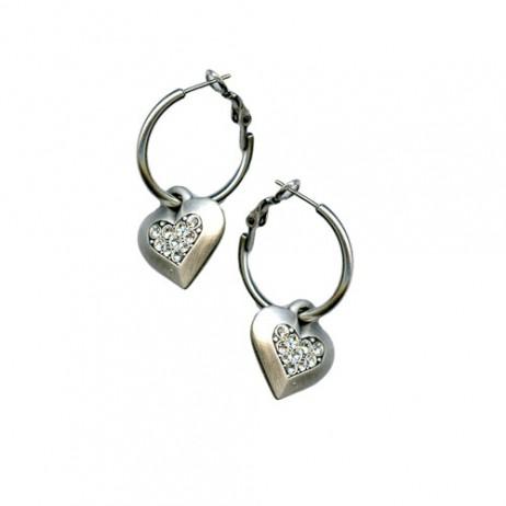 Danon Jewellery Silver Chunky Crystal Heart Hoop Earrings