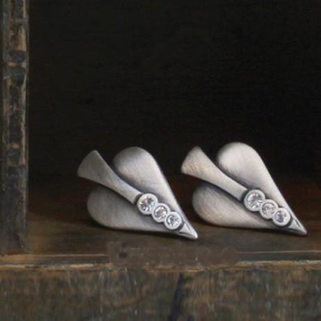 Danon Jewellery Swarovski Crystal Silver Heart Stud Earrings