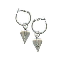 Danon Jewellery Silver Heart Hoop Earrings With Swarovski Crystals