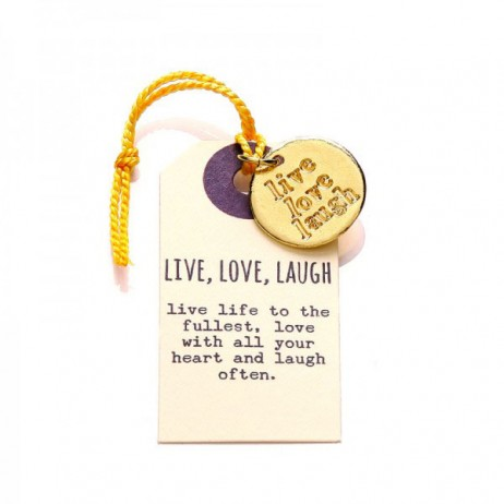 Kutuu Jewellery Gold Plated Live Love Laugh Charm
