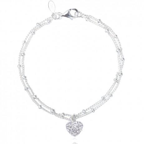 Joma jewellery loulou silver pave heart bracelet 355