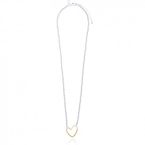 Joma jewellery lila silver necklace gold outline heart 740