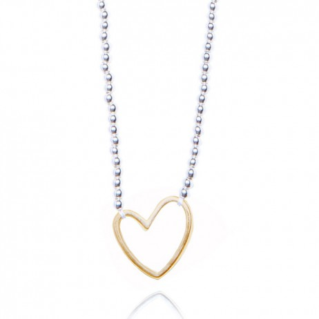 Joma jewellery lila silver necklace gold outline heart