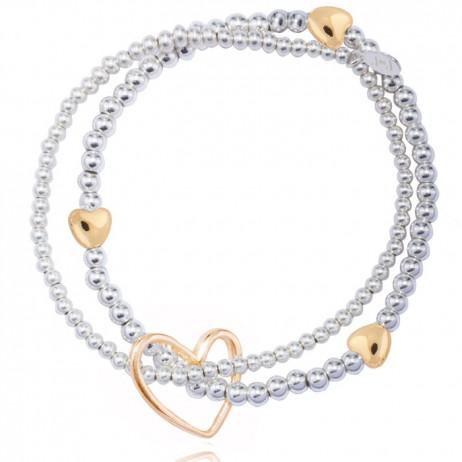 Joma jewellery lila silver bracelet gold hearts