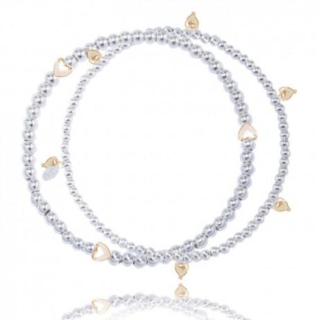 Joma jewellery amelia double silver bracelet gold hearts