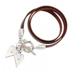 Danon Jewellery Leather Signature Hearts Wrap Bracelet