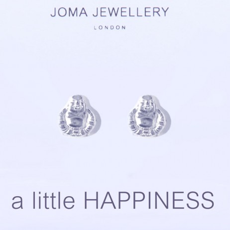 Joma jewellery a little happiness silver buddha earrings 484