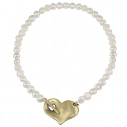 Danon Pearl Necklace With Large Bronze Chunky Heart