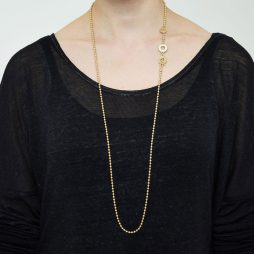 Sence Copenhagen Long Gold Plated Essentials Ball Chain Necklace