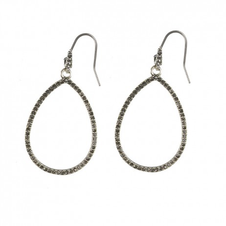 Hultquist Silver Plated Large Drop Earrings with Swarovski Crystals