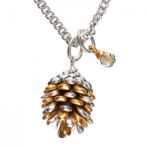 Hultquist Jewellery Bi Colour Fir Cone Crystal Long Necklace