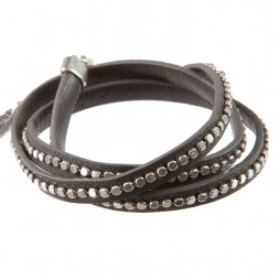 Hultquist Jewellery Silver Plated Grey Leather Wrap Bracelet