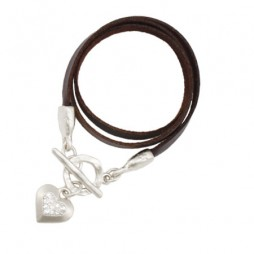 Danon Jewellery Leather Swarovski Crystal Heart Wrap Bracelet