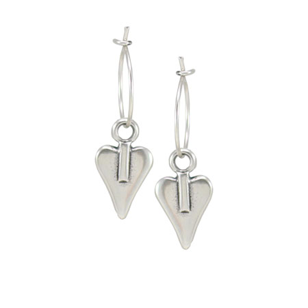 Danon Jewellery Mini Silver Heart Hoop Earrings - EOL