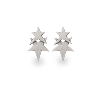 Danon Silver Plated Double Star Earrings