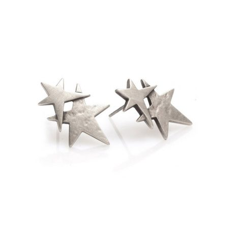 Danon Jewellery Silver Plated Double Star Earrings