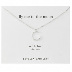 Estella Bartlett Silver Swarovski Crystal Moon Necklace