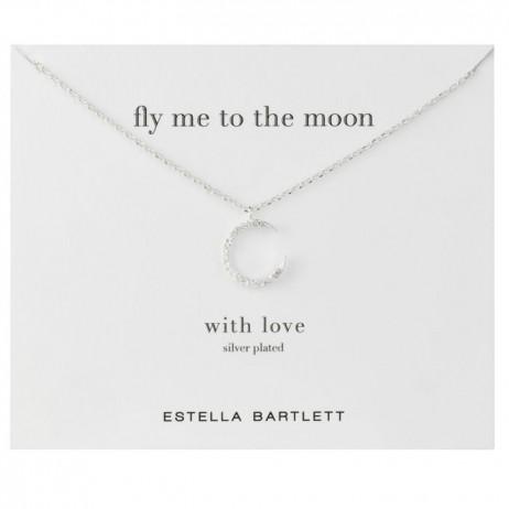 Estella Bartlett Silver Swarovski Crystal Moon Necklace