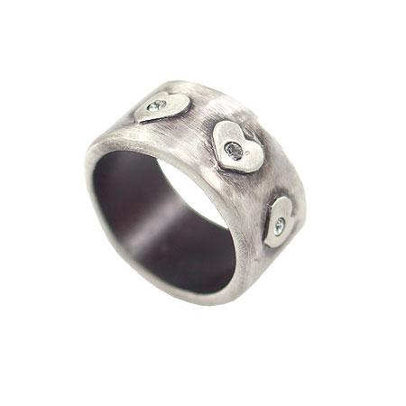 Danon Jewellery Silver Hearts Swarovski Crystal Ring