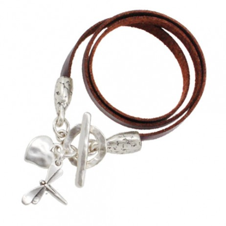 Danon Jewellery Silver Heart and Dragonfly Leather Wrap Bracelet - EOL