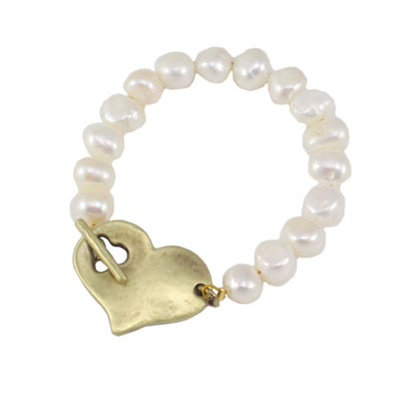Danon Jewellery Pearl Bracelet with Bronze Chunky Heart - EOL