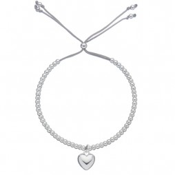 Estella Bartlett Silver Plated Heart Charm Grey Bracelet