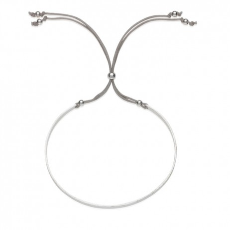 Estella Bartlett Silver Plated Delphine Grey Cord Bangle - EOL