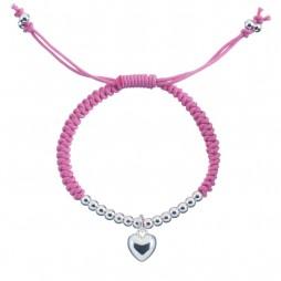 Little Ella Silver Plated Heart Pink Friendship Bracelet