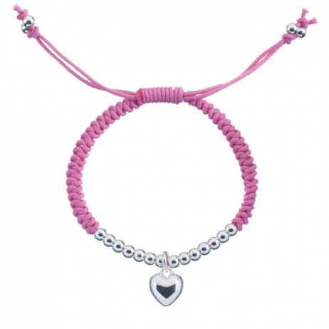 Little Ella Silver Plated Heart Pink Friendship Bracelet