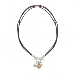 Danon Jewellery Brown Leather Small Hearts Necklace