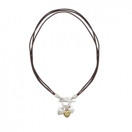 Danon Jewellery Brown Leather Small Hearts Necklace - EOL