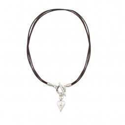 Danon Jewellery Brown Leather Swarovski Crystals Heart Necklace