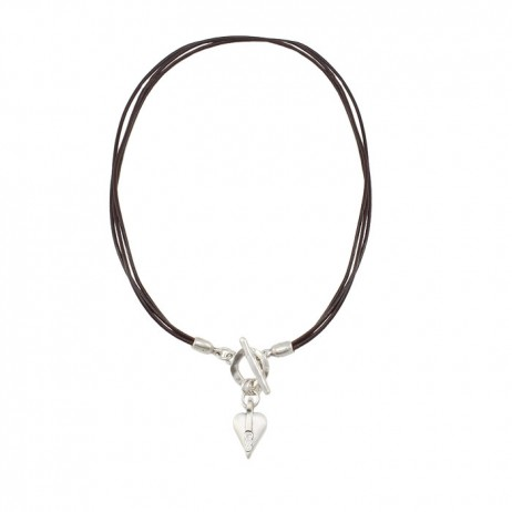 Danon Jewellery Brown Leather Swarovski Crystals Heart Necklace