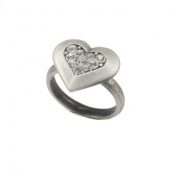 Danon Jewellery Silver Crystal Heart Ring