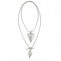 Danon Silver Long Hearts Necklace with Swarovski Crystals