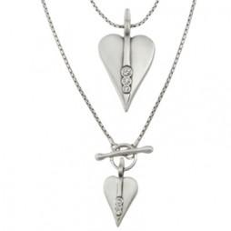 Danon Silver Long Hearts Necklace with Swarovski Crystals