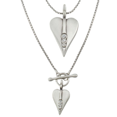 Danon Silver Double Hearts Long Necklace with Swarovski Crystals