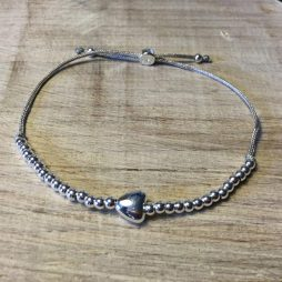 Joma Jewellery a little Friendship Grey Cord Silver Heart Bracelet 604