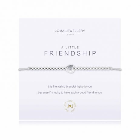 Joma Jewellery a little Friendship Grey Cord Silver Heart Bracelet 604 - eol