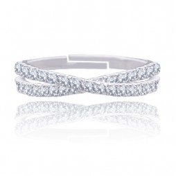 Joma Jewellery Silver Pave Willow Loop Ring 1030