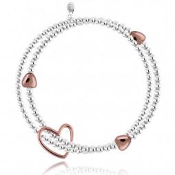 Joma jewellery Lila Silver Bracelet Rose Gold Hearts